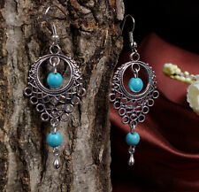 1Pair New Women's Ancient  Turquoise Bohemian Hollow out Drop Earrings Jewelry