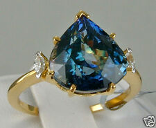 6.41ct Genuine Bi-Color Tanzanite Solitaire with Diamonds 18k Solid Gold, Size 7