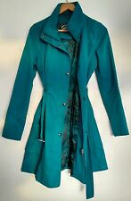 Designer GUESS Raincoat Trench Coat size S Teal Belted --MINT-- Stunning