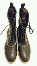 PAUL SMITH Brogues Leather Lace-up Black Boots uk 7.5 eu 41.5 Made in italy
