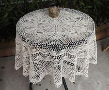 Hand Crochet Lace Cotton Doily Placemat Topper Tablecloth Round 130CM Ecru Beige
