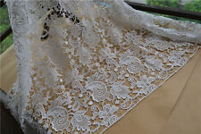 """Stunning 50"""" Wide for Bridal Dress Ivory Guipure Embroidery Lace Fabric 1 Yard"""