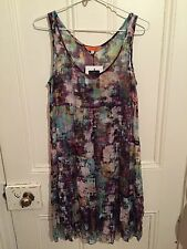 LISA HO *BNWT 'Fractured Tiered Silk Dress' Multi-coloured Shift, Size 6