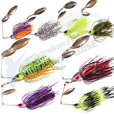 8x Double Blade Spinnerbaits Spinner Bait Fishing Lures Buzzbait COD BASS BARRAs