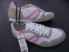 BNWT Older Girls Size 3 Rivers Super Cute Pink/White Lace Up Jogger/Casual Shoes