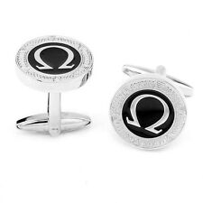 Omega Silver and Black Cuff Links Stylish Mens Cufflinks gift bag