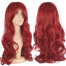 28'' Gorgeous Ladies Long Wavy Curly Fancy Dress Human Hair Full Wigs + Free Cap