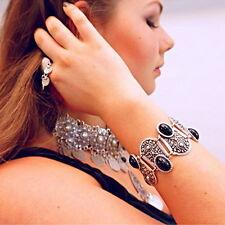 Fashion Women Lady Boho Jewelry Antique Silver Chain Cuff Bangle Charm Bracelet