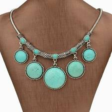 Hot Genuine Turquoise Tassel Bubble Bib Collar Statement Necklace Pendant Gift