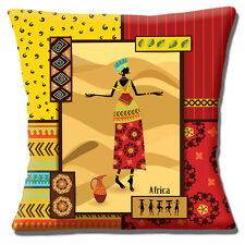 """NEW AFRICAN TRIBAL LADY RED YELLOW BEIGE SHADES PRINTED 16"""" Pillow Cushion Cover"""