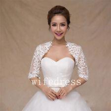 White Lace Applique Beads Wedding Bridal Bolero Half Sleeves Jacket Shawl Shrug