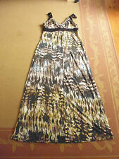 LADIES CUTE BROWNS POLY MAXI SLEEVELESS DRESS BY CROSSROADS - SIZE S  AUS 8/10