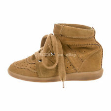 ISABEL MARANT 'bobby suede wedge trainers' brown camel sneakers 37 + dustbag