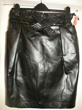 LADIES NEW BLACK  FAUX LEATHER/PVC  PENCIL SKIRT FROM DUNNES, SIZE 10