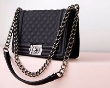 SMALL BLACK QUILTED MESSENGER BAG WITH CHAIN HANDLE & BUCKLE FASTENING - NEW