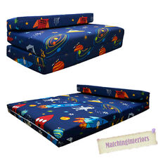 Double Kids Folding Guest Bed Space Boy Planets Rocket Sofabed Sofa Mattress