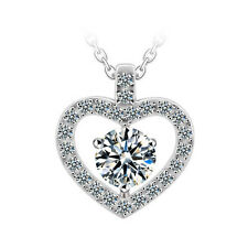 18K WHITE GOLD PLATED & GENUINE SWAROVSKI CRYSTAL & CLEAR CZ HEART NECKLACE