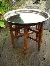 VINTAGE  INLAID  FOLDING WOODEN TABLE  WITH  BRASS TRAY  TOP
