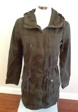 NWT Abercrombie & Fitch Dark Olive Green Twill Army Parka Jacket Coat Size S
