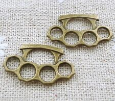 Two Pairs of MINI Brass Knuckle Dusters Jewelry Pendant Charms