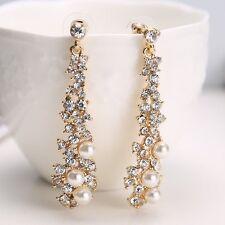 Perle Kristall Strass Lang Kronleuchter Ohrringe Damen Damen Schmuck Geschenke