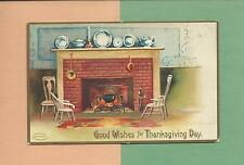 Cozy FIREPLACE HEARTH Lovely A/S CLAPSADDLE Vintage 1908 THANKSGIVING Postcard