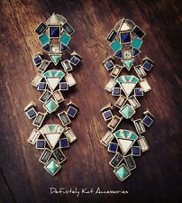 Stunning turquoise blue & crystal long drop cocktail geometric statement earring