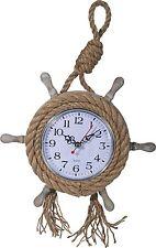 Maritime Uhr Holz Wanduhr Steuerrad 24cm Quarzuhr Shabby Urlaub Meer Boot Schiff