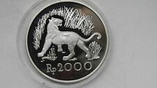 1974 Indonesia 2000 Rupiah Java Tiger Silver Proof coin