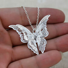 Hot Hollow Rhinestone Butterfly Pendants Necklace Silver Chain Platinum Plating
