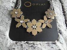 STATEMENT NECKLACE  FLOWERS GOLD & SILVER NEW