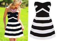 """RYDA"" STUNNING LADIES BLACK WHITE SIZE 6-8 RICH  STRETCH STRAPLESS DRESS"