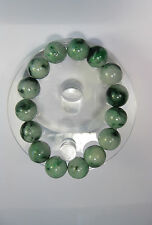Natural Grade A  dark green/white  jade 10 mm beaded stretchy bracele(15 beads)