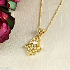 N1 18K Gold Filled Hand of Fatima Hamsa Necklace with Crystal -  Gift boxed