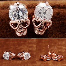 Women Ladies Rose Gold Tone Crystal Diamond Skull Pierced Stud Earrings Jewelry