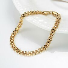 "18k Yellow Gold Filled Charm Bracelet gf 8""Link Chain Fashion Jewelry Gift"
