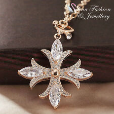 18K Rose Gold Plated AAA Grade Cubic Zirconia Charming Cross Long Necklace