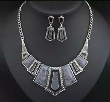 Fashion Vintage Necklace And Earring Set Beautiful Free Postage Grey