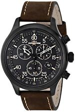 Timex Men's T49905 Expedition Rugged Field Chronograph Black/Brown Leather Strap