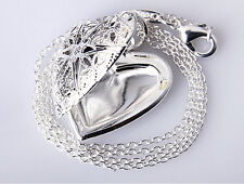 Charm Silver Heart lover locket chain pendant Photo Necklace Valentine Gift JT15