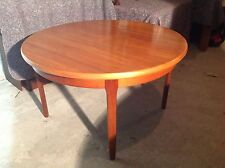 MID CENTURY / RETRO TEAK EXTENDING DINING TABLE ROUND / OVAL FLIP OVER EXTENTION