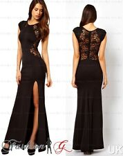 Womens Evening Dress Black Maxi Ball Gown Prom Party Formal Long Lace Size 12/14