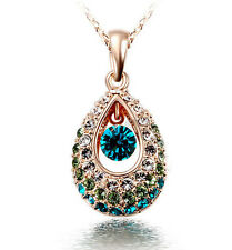 Fashion 18k gold Teardrop Colorful wonderful Rhinestone Crystal Necklace pendent