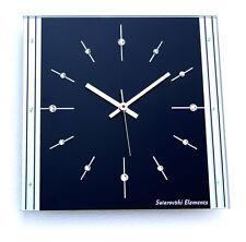 Swarovski Elements Wohnzimmeruhr Luxusuhr Glas Funk Wanduhr schwarz silber Uhr