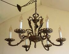 FABULOUS 1930s VINTAGE FRENCH OLD BRASS CHANDELIER * ROCOCO RIBBON & BOW DETAIL