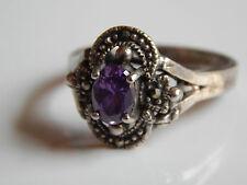 Ring 925er Silber Sterlingsilber 925 Amethyst und Markasit 4 Markasiten Gr. 60