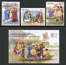 VIETNAM 2011 UNESCO Lieder Folklore Trachten 3568-70 + Block 156 U Imperf MNH