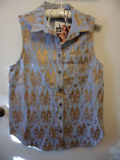 brand new with tags MINK PINK pale denim and gold sleeveless shirt size S