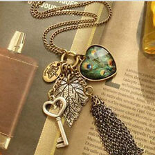 Charm Graceful Women's Jewelry Crystal Statement Bib Pendant Long Chain Necklace