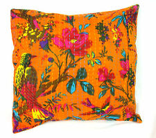 Indian Ethnic Cotton Floral Kantha Cushion Cover Covers Handmade 16x16 decor